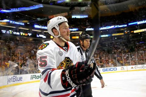 Andrew Shaw is called for a penalty in the second period.