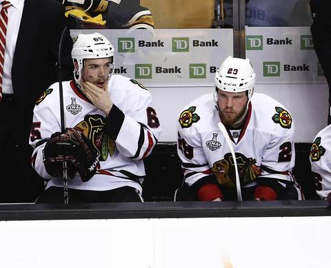 Andrew Shaw returned to the ice to start the second period.