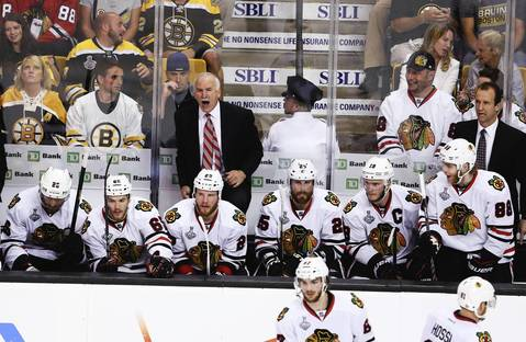 Blackhawks coach Joel Quenneville yells at a referee during the second period.