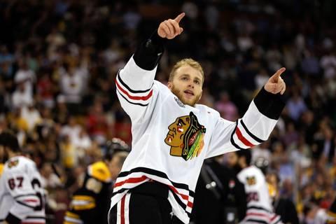 Patrick Kane celebrates.