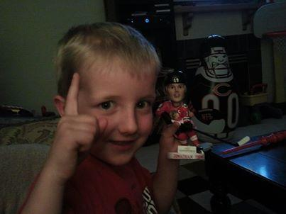 My 5 year old grandson, Brayden Strock, celebrating the Stanley Cup with his Jonathan Toews bobble head in Westminster Colorado