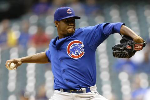 Edwin Jackson delivers in the bottom of the first.
