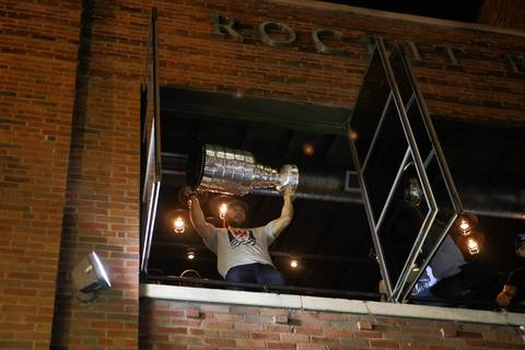 Blackhawks players celebrate their Stanley Cup Final win at the Rockit Bar and Grill on W. Hubbard Street in Chicago.