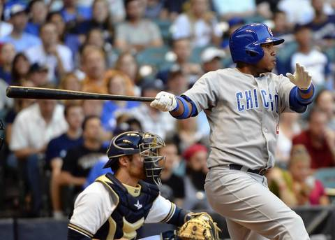 Luis Valbuena drives in a run in the 2nd inning.