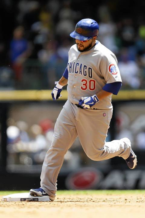 Dioner Navarro after hitting a three-run home run in the top of the third inning.