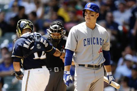 Anthony Rizzo walks to the dugout after striking out in the second inning.