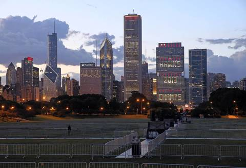 The Chicago skyline shows support of the Blackhawks as Grant Park is prepared the Stanley Cup celebration rally.