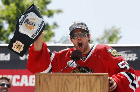 Chicago Blackhawks goalie Corey Crawford addresses the crowd.