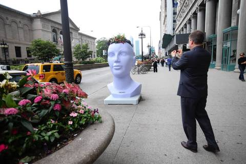 A planter head faces an existing planter on Michigan Avenue.
