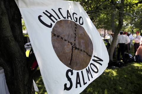 The Salmon Base Ball Club of Chicago flies their standard as they take on the Union Base Ball Club of Minnesota in a 1858 rules Vintage Base Ball Association match.