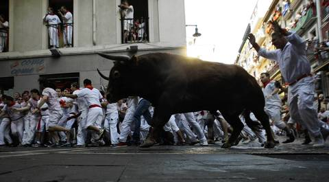 Several thousand thrill-seekers ran alongside six fighting bulls through the streets of the Spanish city of Pamplona on the first day of the running of the bulls.