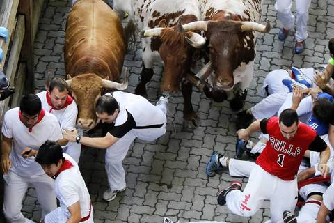 Several thousand thrill-seekers ran alongside fighting bulls through the streets of the Spanish city of Pamplona on the first day of the running of the bulls.