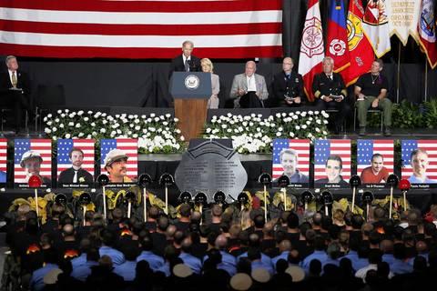 Vice President Biden speaks at the memorial.