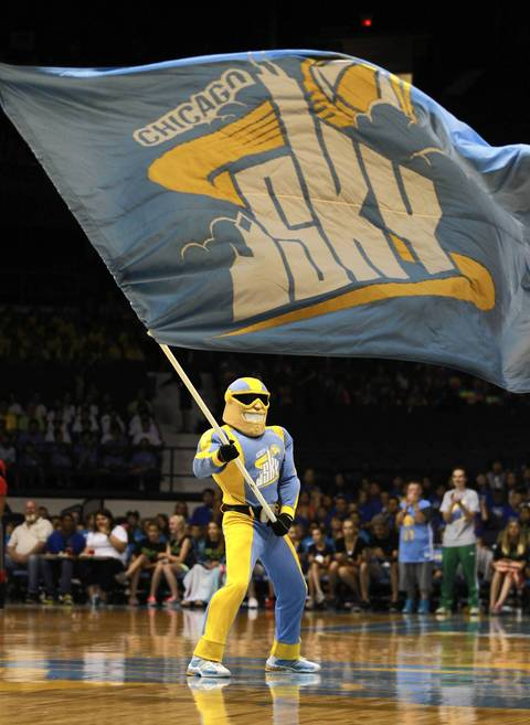 Sky Guy, the Chicago Sky mascot, before Wednesday's game.