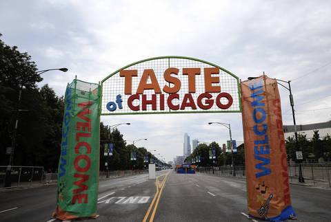 The entrance to the Taste of Chicago stands in front of an empty Columbus Drive.