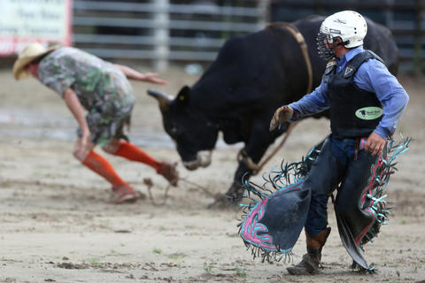 Kailer Mccoy, 14, runs to safety after falling off a bull during the Kissimmee Sports Arena Rodeo on Saturday, July 13, 2013.  (Megan May\Orlando Sentinel)