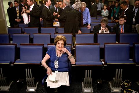 Long-time White House correspondent Helen Thomas takes up her seat on the front row of the remodeled James S. Brady Press Briefing Room in the West Wing of the White House July 11, 2007 in Washington, DC. The briefing room was closed for about one year to update broadcast technology, remove asbestos and remodel the space.