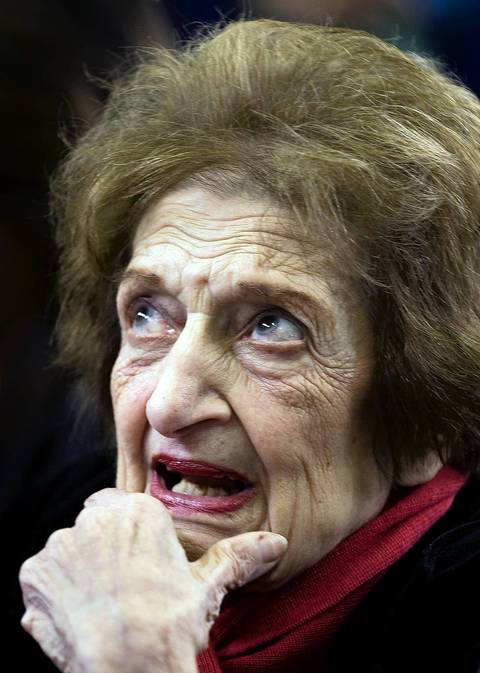 Helen Thomas waits for the daily press briefing in the Press Room of the White House in 2008.