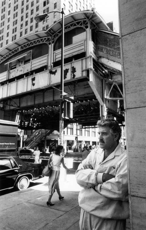 Dennis Farina pictured at the corner of Randolph and Wells Street in Chicago on July 14, 1988.