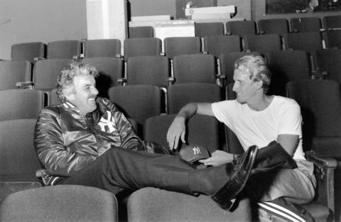 Dennis Farina, left, and Ed Blatchford talk between rehearsals for 'Some Men Need Help' at Victory Gardens in Chicago on Sept. 2, 1988