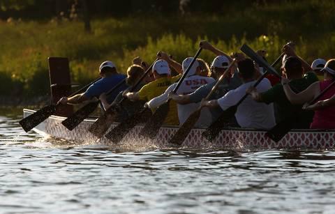 Windy City Dragons practice dragon boating at Lake Arlington in Arlington Heights.