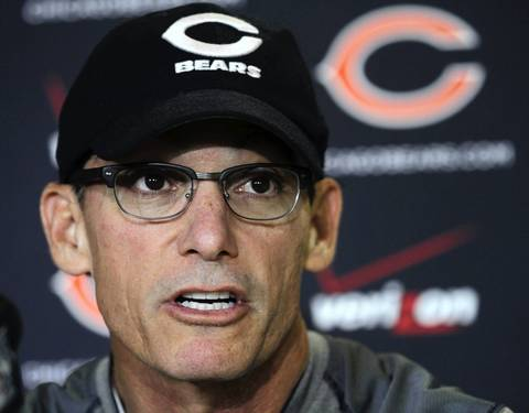 Bears head coach Marc Trestman answers media questions.