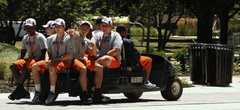 Ball boys head to lunch Wednesday as the Chicago Bears report to Olivet Nazarene University.