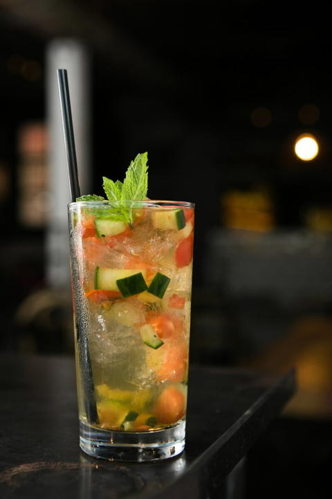 The Bloody Steven, a kick in your face take on a bloody Mary with garlic and habanero infused vodka and cucumber and tomato salsa at Fame Bar on 2015 W. Division St.