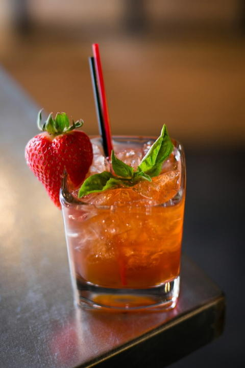 Rye Me a Basil Berry, a twisted Manhattan with strawberry and basil infused rye whiskey at Fame Bar on 2015 W. Division St.