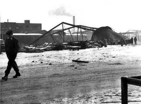 A water tank is demolished at 42nd Street and Ashland Avenue that was once used by the Wilson & Co. meat packing plant.
