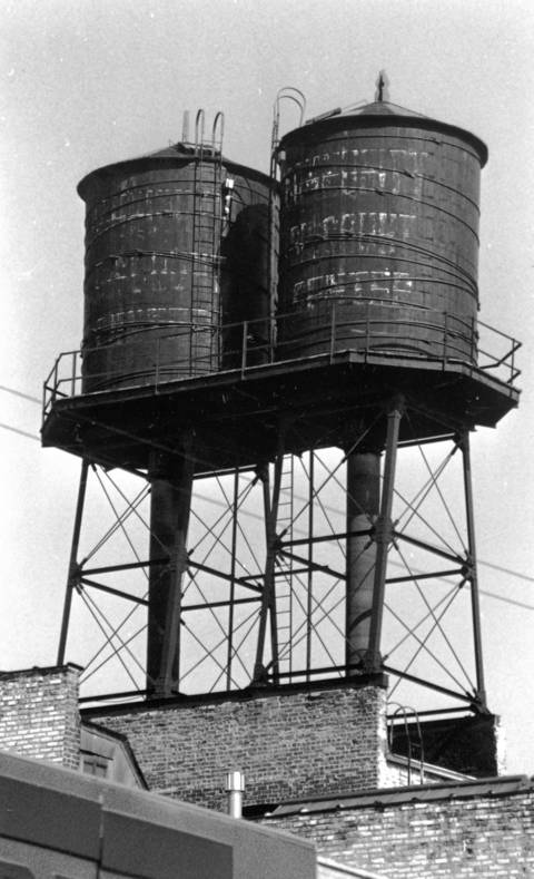 Twin water tanks on North Halsted Street in Chicago.