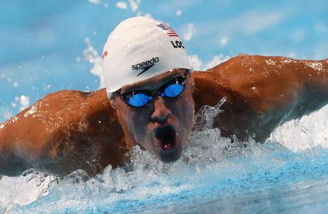 US swimmer Ryan Lochte competes in the heats of the men's 200-metre individual medley swimming event in the FINA World Championships at Palau Sant Jordi in Barcelona on July 31, 2013.
