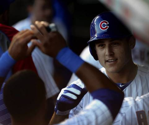 Cubs first baseman Anthony Rizzo celebrates after hitting a home run in the first inning.