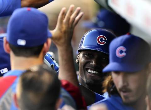 Cubs' Junior Lake is elated after hitting his first homer at Wrigley Field on Thursday night.