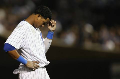 Cubs' Starlin Castro was frustrated after being stranded on base in the sixth inning.