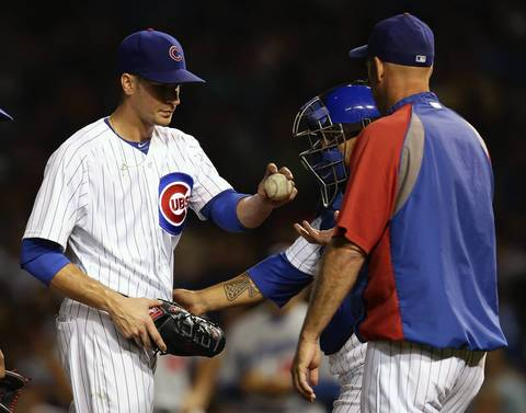 Cubs pitcher Chris Rusin is relieved in the 6th inning.