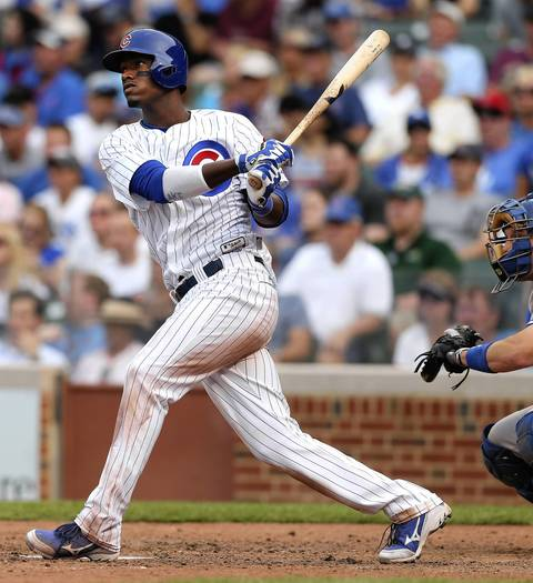 Cubs batter Junior Lake singles for his fourth hit of the game in the seventh inning.