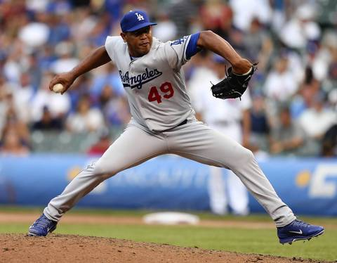 Former Cubs closer Carlos Marmol pitches the ninth inning for the Dodgers.