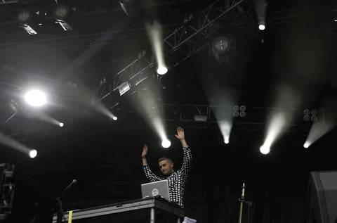 The English electronic music duo Disclosure performs on the first day at Lollapalooza in Chicago.