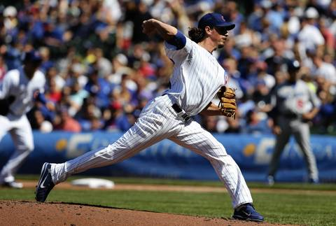 Cubs starting pitcher Jeff Samardzija delivers in the first inning.