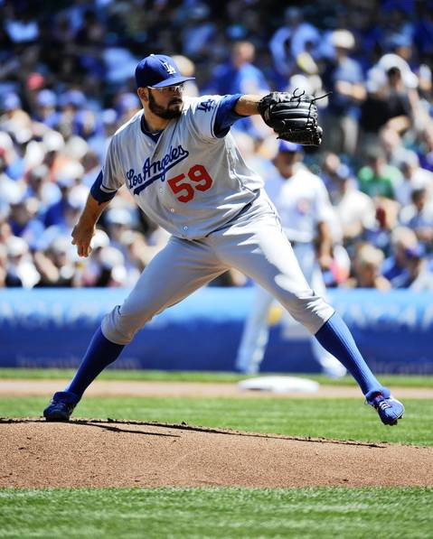 Dodgers starting pitcher Stephen Fife pitches against the Chicago Cubs during the first inning