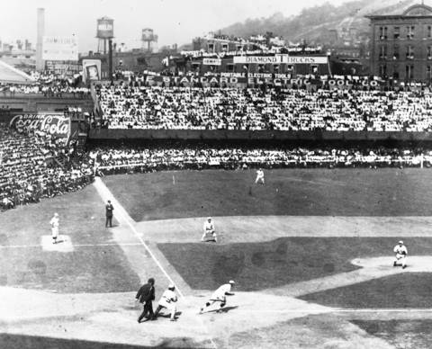 Game action during a World Series game between the Chicago White Sox and the Cincinnati Reds at Redland Field in Cincinnati, Ohio in 1919.