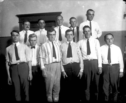 Attorneys and a few White Sox players pose during the Black Sox trail of 1921. White Sox player's in the back row are George 'Buck' Weaver, center, Oscar 'Happy' Felsch, second from right, and Charles 'Chick' Gandil. White Sox shortstop Swede Risberg is second from right, in the front row.