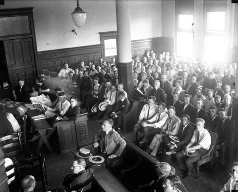 The scene in the courtroom for the Black Sox trial in 1921. Eight Chicago White Sox players were on trial for fixing the 1919 World Series.