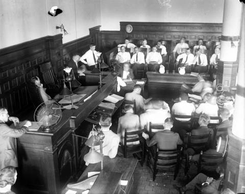 The scene in the courtroom for the Black Sox trial in 1921, looking at the jury against the far wall. Eight Chicago White Sox players were on trial for fixing the 1919 World Series.