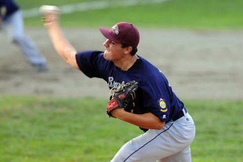 Pitcher John Amendola, 10, of Branford, makes a pitch in the top of the second inning.