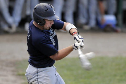 Right fielder Nick Perrelli, 3, of Branford, connects on an RBI single in the second inning. Branford scored six runs in the fist two innings with Perrelli deriving in three and scoring one.
