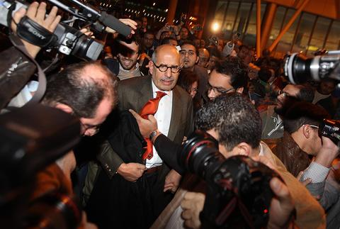FILE - AUGUST 14, 2013: It was reported that Egyptian Vice President and Nobel laureate Mohamed ElBaradei has resigned from his position August 14, 2013. The news comes after a major increase clashing between protest camps and security forces. CAIRO, EGYPT - JANUARY 27: Egyptian opposition leader Mohamed ElBaradei is surrounded by reporters as he arrives at Cairo airport on January 27, 2011 in Cairo, Egypt. Mr ElBaradei has vowed to join anti government protesters in Cairo tomorrow. (Photo by Peter Macdiarmid/Getty Images) ORG XMIT: 108352490