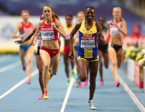 Abeba Aregawi of Sweden crosses the line to win gold in the Women's 1500 metres finalduring Day Six of the 14th IAAF World Athletics Championships Moscow 2013 at Luzhniki Stadium on August 15, 2013 in Moscow, Russia.