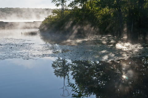 2013.08.15 - Thompson, CT - Water vapor rises from the waters of the Quaddick Reservoir near Quaddick State Park where about 20 cyclists began 11-day trek through Connecticut to commemorate the centennial of its State Park system.